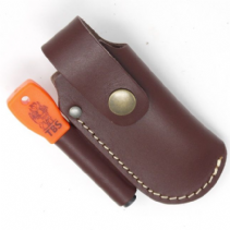 TBS Leather Small Folding Knife Belt Pouch with Firesteel Loop